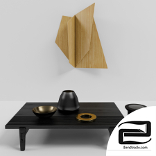 poliform black table with wall art