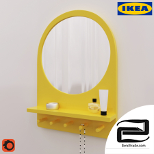 Mirror with shelf and hooks IKEA Salted