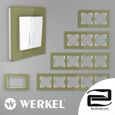 Glass frames for sockets and switches Werkel Favorit (pistachio)