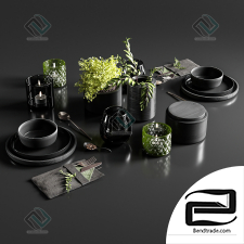 Table setting in black colors set of dishes, tableware