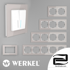 Glass frames for sockets and switches Werkel Favorit (smoky)