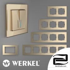 Glass frames for sockets and switches Werkel Favorit (champagne)