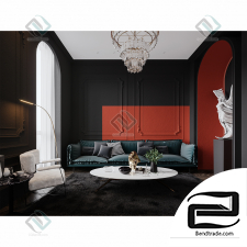 Black and red interior