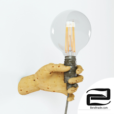 Wood Mannequin Hand Wall Lamp