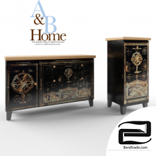 A&B Home Accent Furniture Fantasy Garden Cabinet and chest of drawers