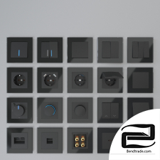 Werkel sockets and switches (black)