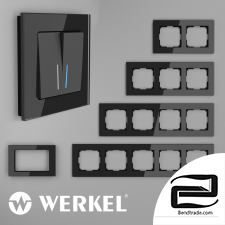 Glass frames for sockets and switches Werkel Favorit (black)