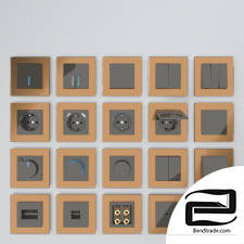 Werkel sockets and switches (grey-brown)