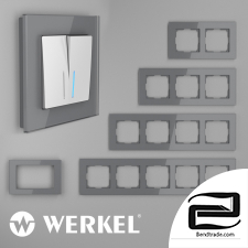 Glass frames for sockets and switches Werkel Favorit (gray)