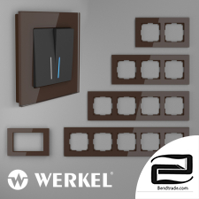 Glass frames for sockets and switches Werkel Favorit (mocha)