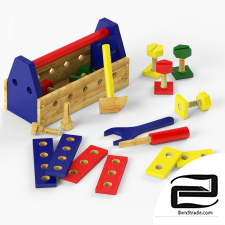 Children's set of wooden tools
