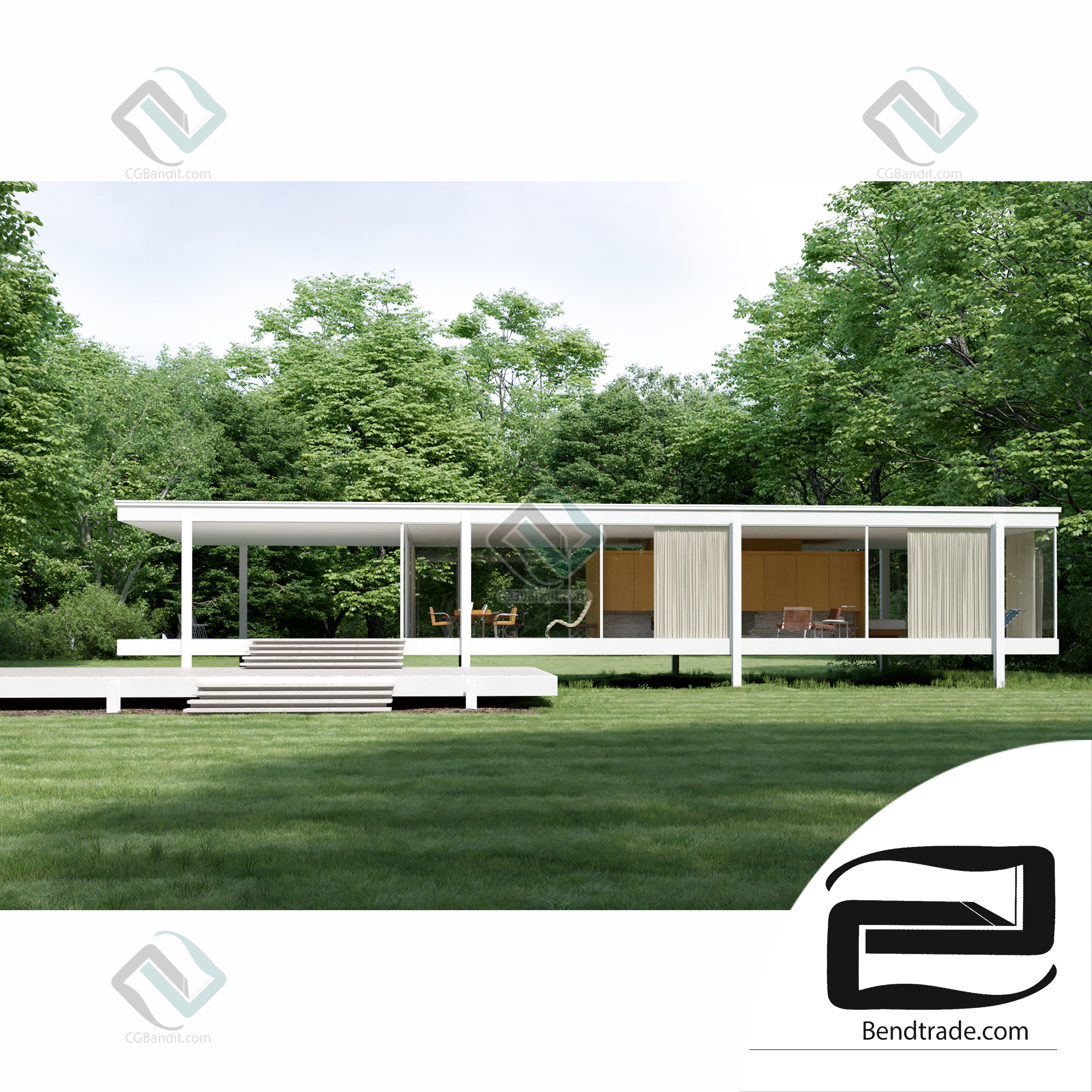 Iconic House 3D stage exterior and interior